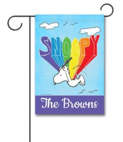 PNT2497 Personalized Peanuts Rainbow Flying Snoopy Garden Flag