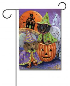 Dachshund Haunted House U2013 Garden Flag U2013 12.5u201d X 18u201d