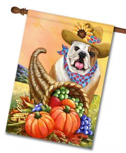 English Bulldog Fall Cornucopia House Flag