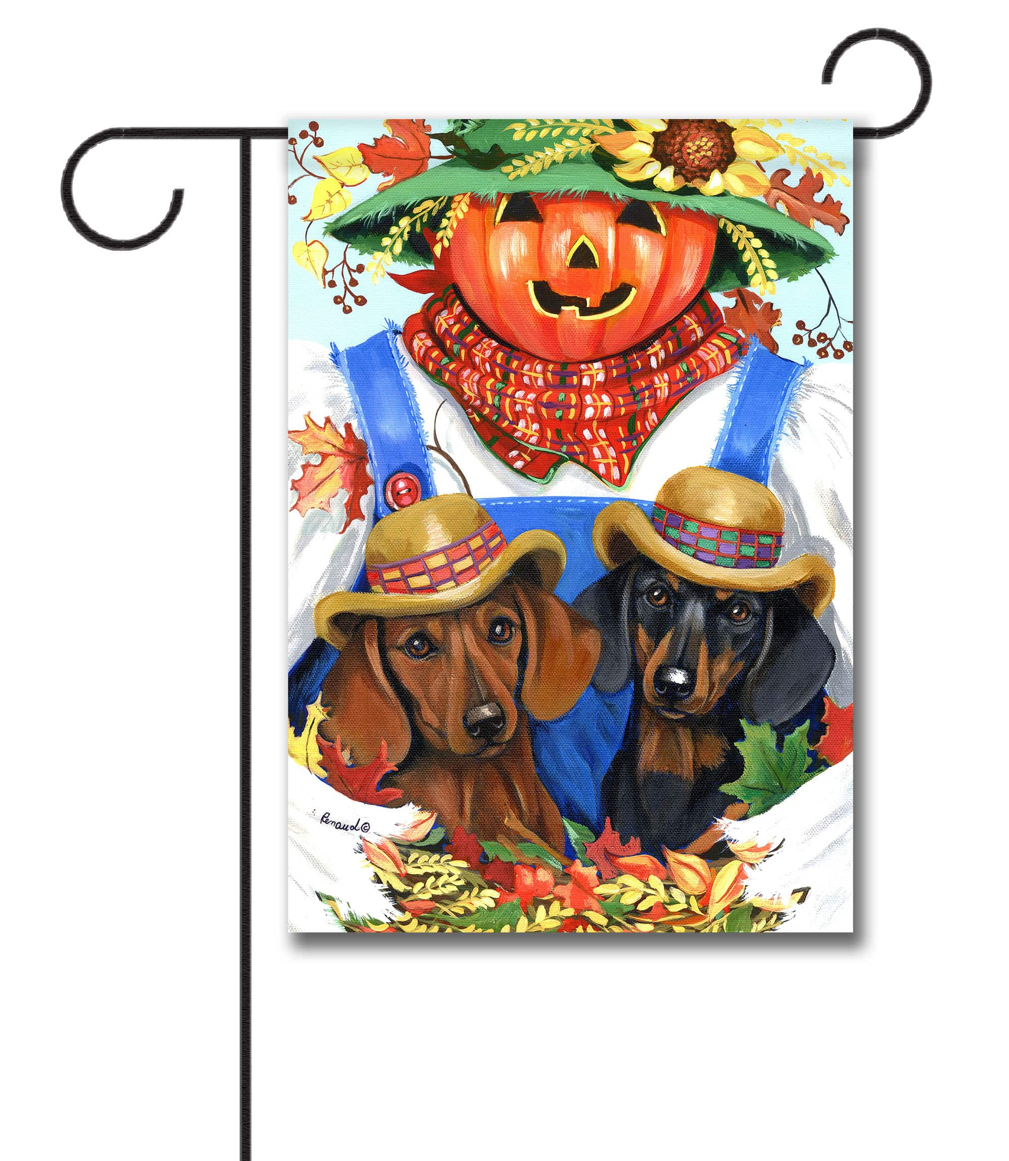Fall Doxie Garden Flag