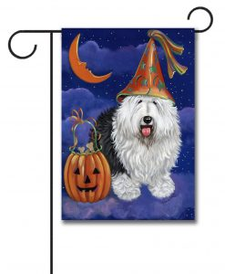 Halloween Jack O Lantern Old English Sheepdog Garden Flag
