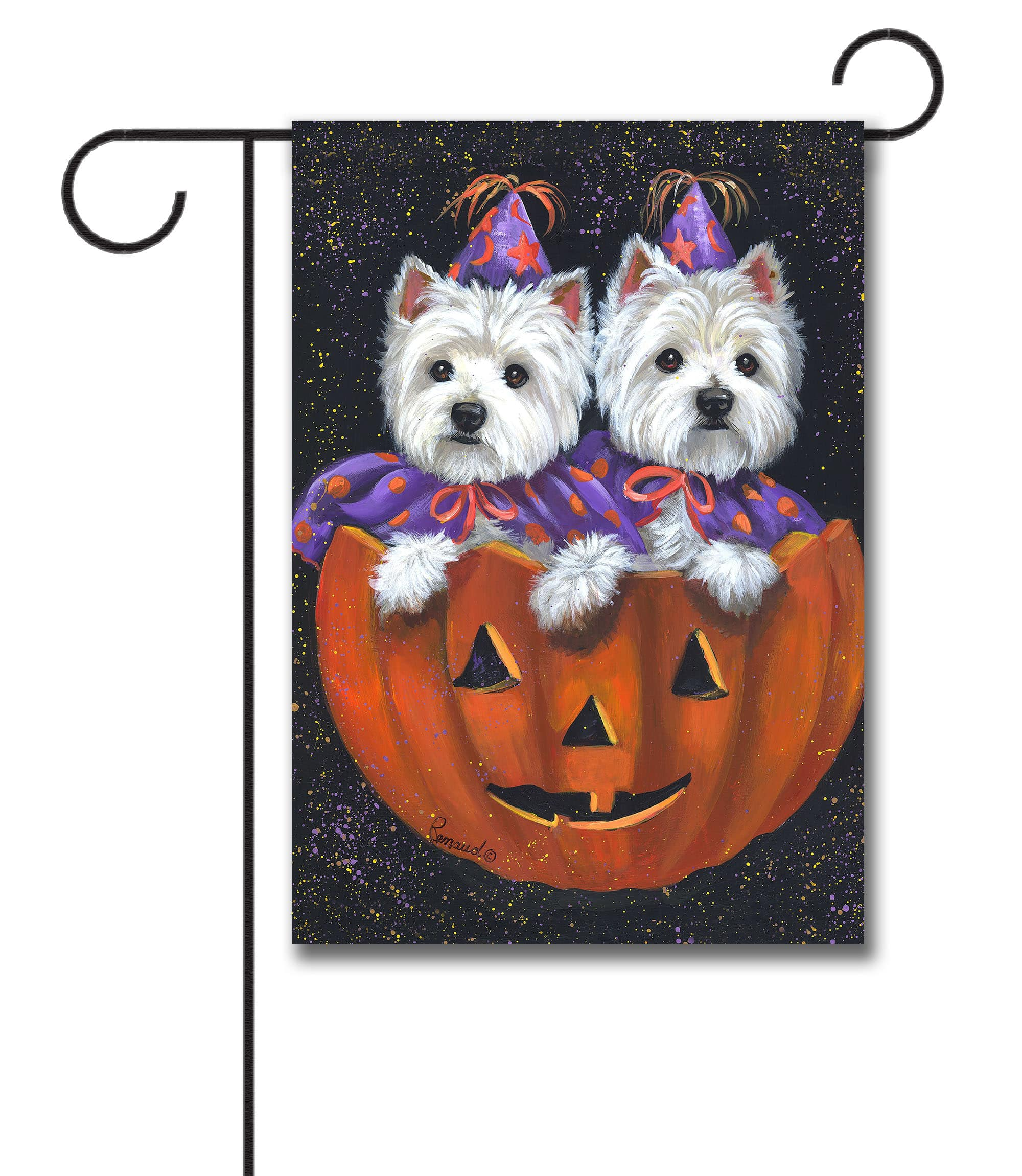 west highland terrier halloween - garden flag - 12.5'' x 18