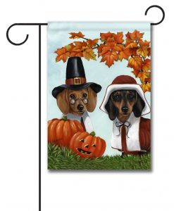 Pilgrims Thanksgiving Dachshund Garden Flag